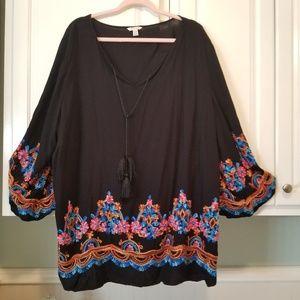 Cato 26 / 28w black embroidered blouse